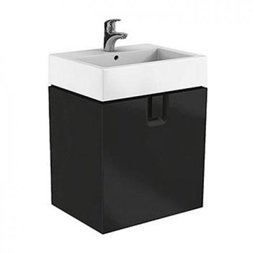Шкафчик под умывальник 60 см с одним ящиком, черный матовый